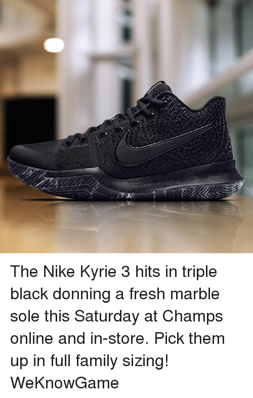 promo code 71b32 fb194 Family, Fresh, and Memes  The Nike Kyrie 3 hits in triple black donning