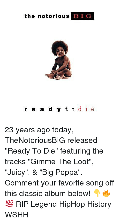 "Commentator: the notorious B  IG  r e a d y t o de 23 years ago today, TheNotoriousBIG released ""Ready To Die"" featuring the tracks ""Gimme The Loot"", ""Juicy"", & ""Big Poppa"". Comment your favorite song off this classic album below! 👇🔥💯 RIP Legend HipHop History WSHH"
