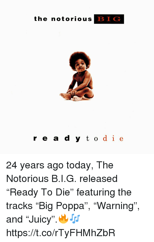 """Notorious BIG, Today, and Big: the notoriouS  BIG  r e a  d y todie 24 years ago today, The Notorious B.I.G. released """"Ready To Die"""" featuring the tracks """"Big Poppa"""", """"Warning"""", and """"Juicy"""".🔥🎶 https://t.co/rTyFHMhZbR"""