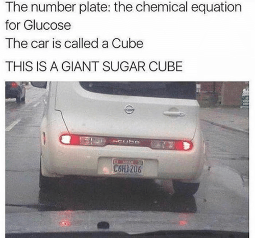 Equation: The number plate: the chemical equation  for Glucose  The car is called a Cube  THIS IS A GIANT SUGAR CUBE  C6H1206