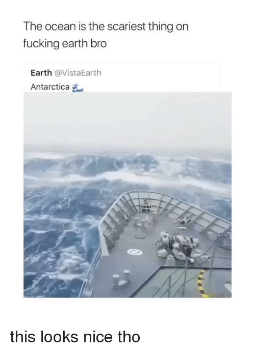 Antarctica: The ocean is the scariest thing on  fucking earth bro  Earth @VistaEarth  Antarctica this looks nice tho