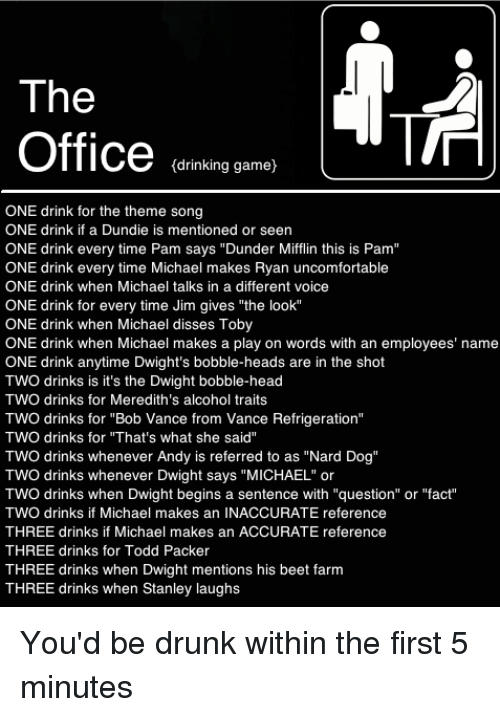 """Drinking, Drunk, and Head: The  Office enman  drinking game}  ONE drink for the theme song  ONE drink if a Dundie is mentioned or seen  ONE drink every time Pam says """"Dunder Mifflin this is Pam""""  ONE drink every time Michael makes Ryan uncomfortable  ONE drink when Michael talks in a different voice  ONE drink for every time Jim gives """"the look""""  ONE drink when Michael disses Toby  ONE drink when Michael makes a play on words with an employees' name  ONE drink anytime Dwight's bobble-heads are in the shot  TWO drinks is it's the Dwight bobble-head  TWO drinks for Meredith's alcohol traits  TWO drinks for """"Bob Vance from Vance Refrigeration""""  TWO drinks for """"That's what she said""""  TWO drinks whenever Andy is referred to as """"Nard Dog""""  TWO drinks whenever Dwight says """"MICHAEL"""" or  TWO drinks when Dwight begins a sentence with """"question"""" or """"fact""""  TWO drinks if Michael makes an INACCURATE reference  THREE drinks if Michael makes an ACCURATE reference  THREE drinks for Todd Packer  THREE drinks when Dwight mentions his beet farm  THREE drinks when Stanley laughs"""