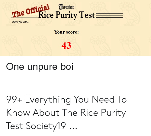 Test rice purity