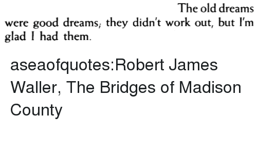 Target, Tumblr, and Work: The old dreams  were good dreams, they didn't work out, but l'm  glad I had them aseaofquotes:Robert James Waller, The Bridges of Madison County