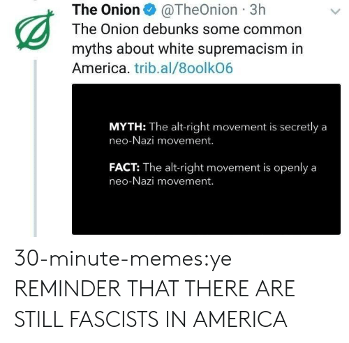 myth: The Onion@TheOnion 3h  The Onion debunks some common  myths about white supremacism in  America. trib.al/8oolkO6  MYTH: The alt-right movement is secretly a  neo-Nazi movement.  FACT: The alt-right movement is openlya  neo-Nazi movement. 30-minute-memes:ye REMINDER THAT THERE ARE STILL FASCISTS IN AMERICA
