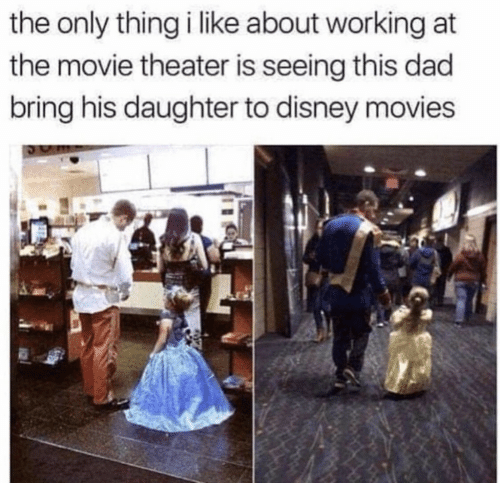 Dad, Disney, and Movies: the only thing i like about working at  the movie theater is seeing this dad  bring his daughter to disney movies