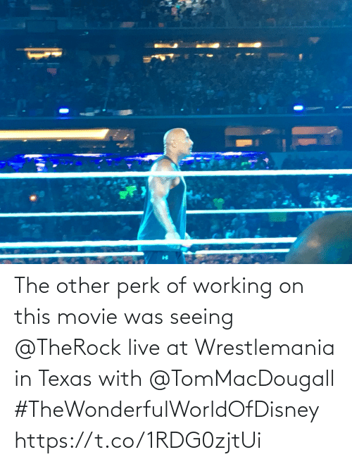 Movie: The other perk of working on this movie was seeing @TheRock live at Wrestlemania in Texas with @TomMacDougall #TheWonderfulWorldOfDisney https://t.co/1RDG0zjtUi