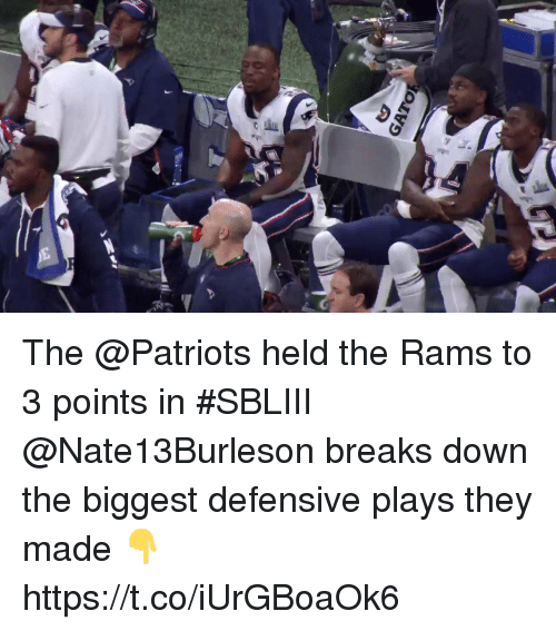 Memes, Patriotic, and Rams: The @Patriots held the Rams to 3 points in #SBLIII  @Nate13Burleson breaks down the biggest defensive plays they made 👇 https://t.co/iUrGBoaOk6