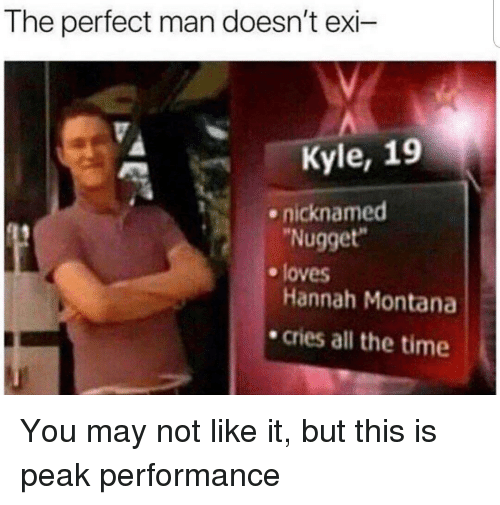 """Hannah Montana: The perfect man doesn't exi-  Kyle, 19  nicknamed  Nugget""""  e loves  Hannah Montana  .cries all the time You may not like it, but this is peak performance"""