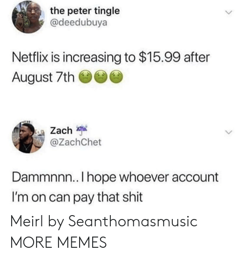 tingle: the peter tingle  @deedubuya  Netflix is increasing to $15.99 after  August 7th  Zach  @ZachChet  Dammnnn.. I hope whoever account  I'm on can pay that shit Meirl by Seanthomasmusic MORE MEMES