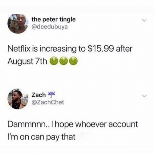 Dank, Netflix, and Hope: the peter tingle  @deedubuya  Netflix is increasing to $15.99 after  August 7th  Zach  @ZachChet  Dammnnn.. I hope whoever account  I'm on can pay that