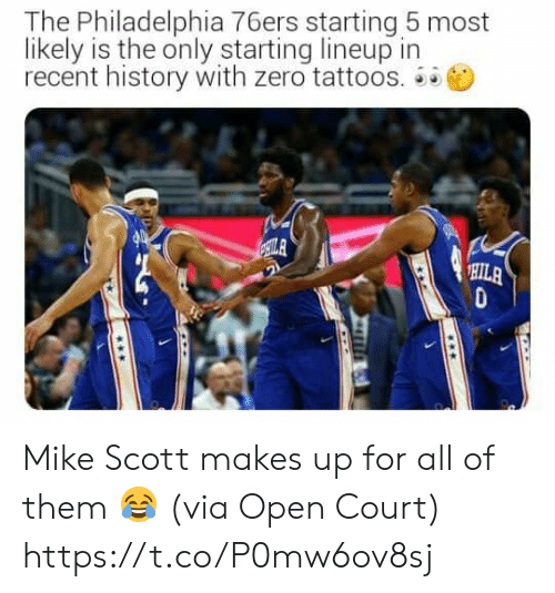 Tattoos: The Philadelphia 76ers starting 5 most  likely is the only starting lineup in  recent history with zero tattoos.  ILA  HILA Mike Scott makes up for all of them 😂  (via Open Court) https://t.co/P0mw6ov8sj