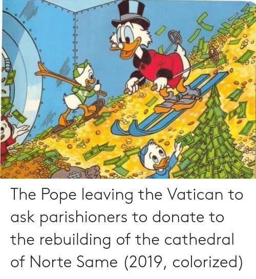 Vatican: The Pope leaving the Vatican to ask parishioners to donate to the rebuilding of the cathedral of Norte Same (2019, colorized)