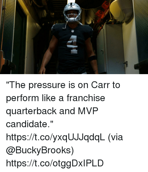 "Memes, Pressure, and 🤖: ""The pressure is on Carr to perform like a franchise quarterback and MVP candidate."" https://t.co/yxqUJJqdqL (via @BuckyBrooks) https://t.co/otggDxIPLD"