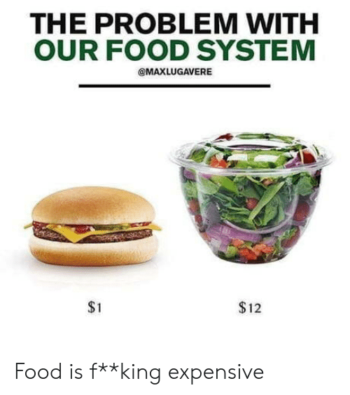 Food, King, and System: THE PROBLEM WITH  OUR FOOD SYSTEM  @MAXLUGAVERE  $1  $12 Food is f**king expensive