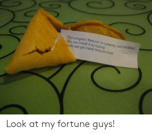 Look At My: The program 'fortune' is currently not installed  You can install it by typing:  udo apt-get install fortune-mod Look at my fortune guys!