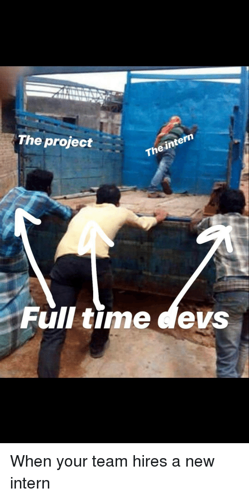 Time, Project, and Intern: The project  The intern  Full time devs When your team hires a new intern