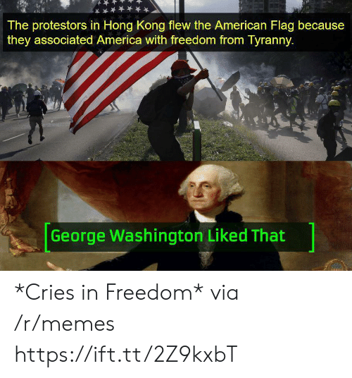 America, Memes, and American: The protestors in Hong Kong flew the American Flag because  they associated America with freedom from Tyranny.  George Washington Liked That *Cries in Freedom* via /r/memes https://ift.tt/2Z9kxbT