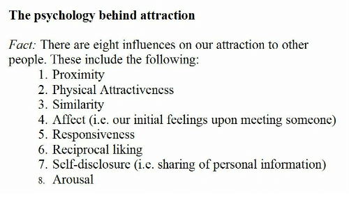 Liking: The psychology behind attraction  Fact: There are eight influences on our attraction to other  people. These include the following  1. Proximity  2. Physical Attractiveness  3. Similarity  4. Affect (i.e. our initial feelings upon meeting someone)  5. Responsiveness  6. Reciprocal liking  7. Self-disclosure (i.e. sharing of personal information)  8. Arousal