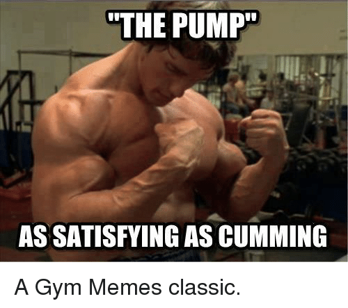 gym memes: THE PUMP  ASSATISFYING AS CUMMING A Gym Memes classic.