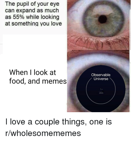 Food, Love, and Memes: The pupil of your eye  can expand as much  as 55% while looking  at something you love  When I look at  food, and memes  Observable  Universe