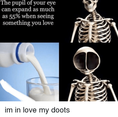 Pupil: The  pupil  of  your eye  n expand as much  as 55% when seeing  something you love  ca im in love my doots