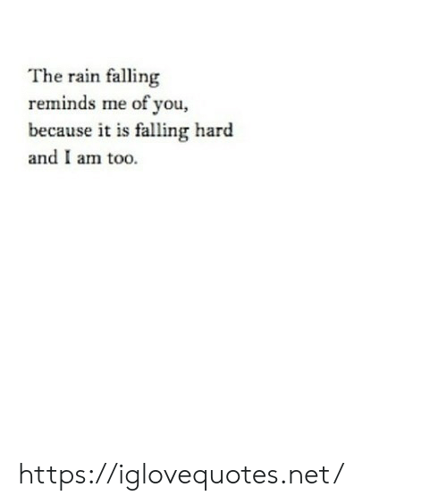 Rain, Net, and You: The rain falling  reminds me of you,  because it is falling hard  and I am too. https://iglovequotes.net/