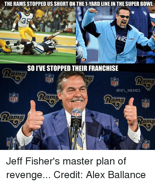 itan: THE RAMS STOPPEDUSSHORTON THE 1-YARD LINE IN THE SUPER BOWL  HN  ITANS  SO IVE STOPPED THEIR FRANCHISE  amS  ONFL MEMES  RO  amS  NFL Jeff Fisher's master plan of revenge... Credit: Alex Ballance