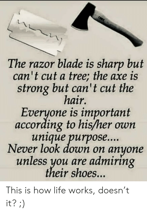 sharp: The razor blade is sharp but  can't cut a tree; the axe is  strong but can't cut the  hair.  Everyone is important  according to his/her own  unique purpose...  Never look down on anyone  unless you are admiring  their shoes... This is how life works, doesn't it? ;)