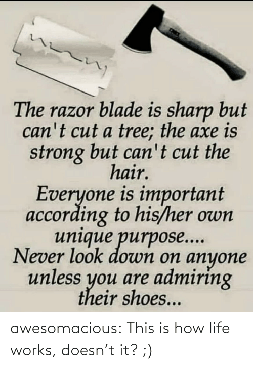 sharp: The razor blade is sharp but  can't cut a tree; the axe is  strong but can't cut the  hair.  Everyone is important  according to his/her own  unique purpose...  Never look down on anyone  unless you are admiring  their shoes... awesomacious:  This is how life works, doesn't it? ;)