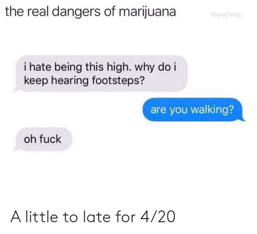 Fuck, Marijuana, and The Real: the real dangers of marijuana  i hate being this high. why do i  keep hearing footsteps?  are you walking?  oh fuck A little to late for 4/20
