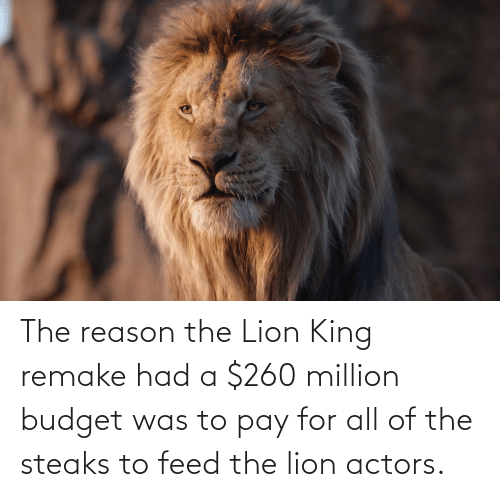 Lion King: The reason the Lion King remake had a $260 million budget was to pay for all of the steaks to feed the lion actors.