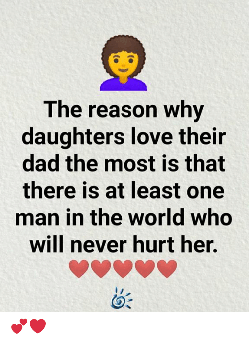 Man In The World: The reason why  daughters love their  dad the most is that  there is at least one  man in the world who  will never hurt her. 💕❤️