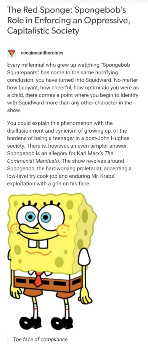 the red sponge spongebob s role in enforcing an oppressive