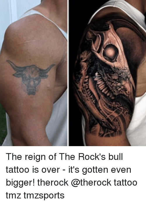 bulling: The reign of The Rock's bull tattoo is over - it's gotten even bigger! therock @therock tattoo tmz tmzsports
