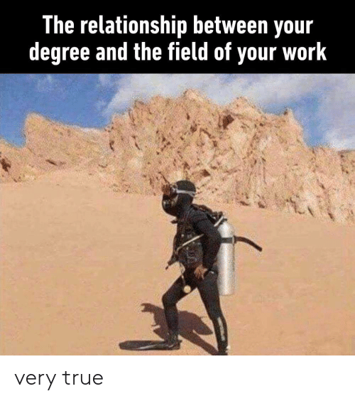 very true: The relationship between your  degree and the field of your work very true