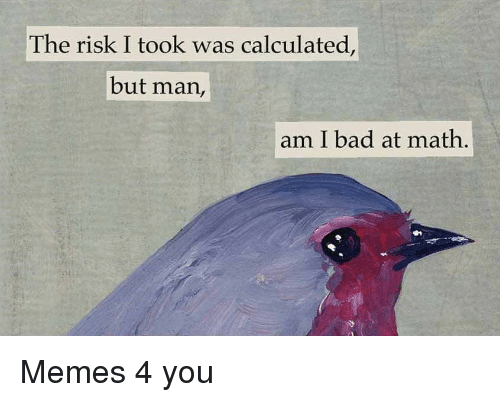 Bad At Math: The risk I took was calculated,  but man,  am I bad at math, Memes 4 you