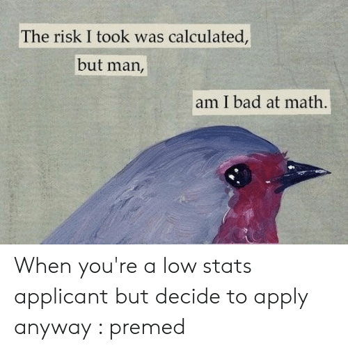 But Man Am I Bad At Math: The risk I took was calculated,  but man,  am I bad at math. When you're a low stats applicant but decide to apply anyway : premed