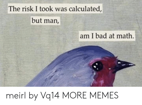 But Man Am I Bad At Math: The risk I took was calculated,  but man,  am I bad at math. meirl by Vq14 MORE MEMES