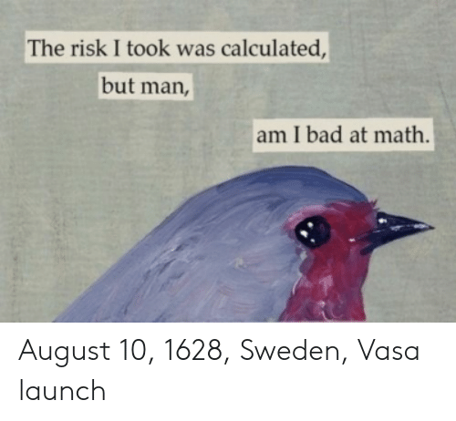 But Man Am I Bad At Math: The risk I took was calculated,  but man,  am I bad at math. August 10, 1628, Sweden, Vasa launch