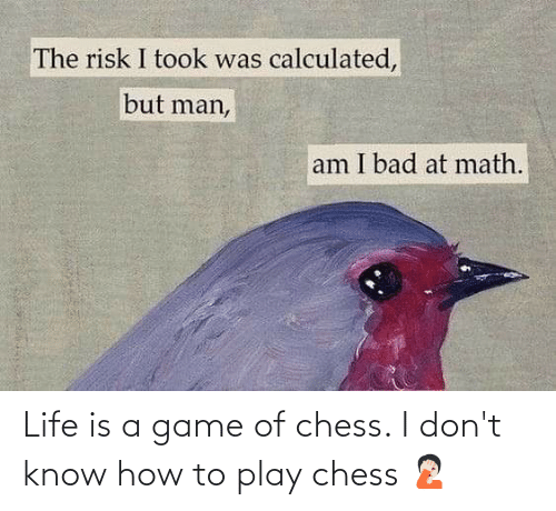 But Man Am I Bad At Math: The risk I took was calculated,  but man,  am I bad at math. Life is a game of chess. I don't know how to play chess 🤦🏻