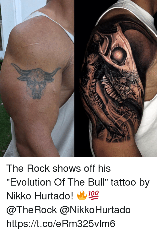 "bulling: The Rock shows off his ""Evolution Of The Bull"" tattoo by Nikko Hurtado! 🔥💯 @TheRock @NikkoHurtado https://t.co/eRm325vlm6"
