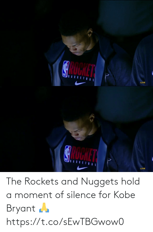 ballmemes.com: The Rockets and Nuggets hold a moment of silence for Kobe Bryant 🙏 https://t.co/sEwTBGwow0