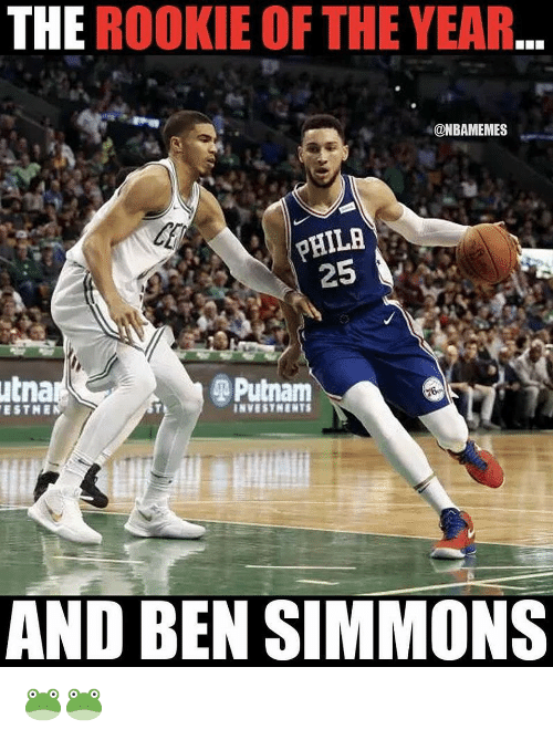 Nba, The Rookie, and  Year: THE ROOKIE OF THE YEAR  @NBAMEMES  utna  Putnam  AND BEN SIMMONS 🐸🐸