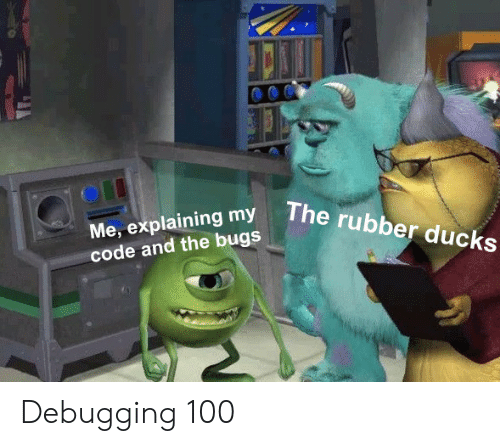 Ducks, Code, and Rubber: The  rubber ducks  Me, explaining my  code and the bugs Debugging 100