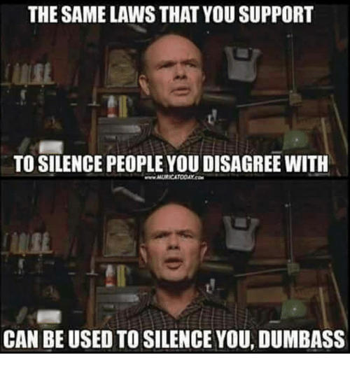 Memes, Silence, and 🤖: THE SAME LAWS THAT YOU SUPPORT  TO SILENCE PEOPLE YOU DISAGREE WITH  CAN BE USED TO SILENCE YOU, DUMBASS