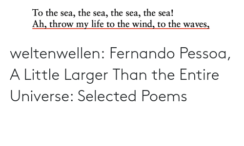 Waves: the sea!  the  the  To the sea,  Ah, throw my life to the wind, to the waves,  sea,  sea, weltenwellen:  Fernando Pessoa, A Little Larger Than the Entire Universe: Selected Poems