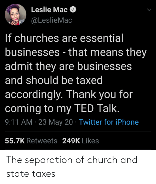 Church: The separation of church and state taxes