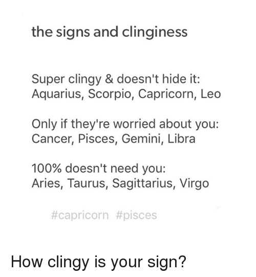 The Signs and Clinginess Super Clingy & Doesn't Hide It Aquarius