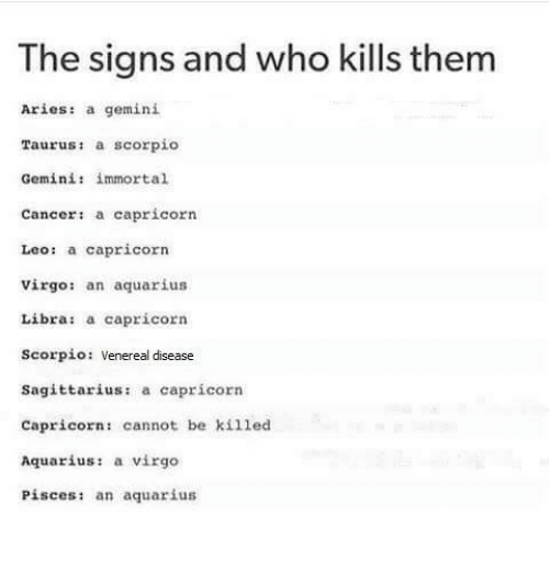 The Signs and Who Kills Them Aries a Gemini Taurus a Scorpio